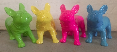 Green, yellow, pink and blue pugs
